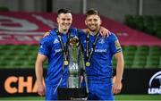 12 September 2020; Jonathan Sexton, left, and Ross Byrne of Leinster celebrate after the Guinness PRO14 Final match between Leinster and Ulster at the Aviva Stadium in Dublin. Photo by Ramsey Cardy/Sportsfile