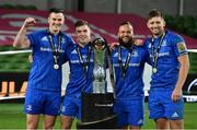 12 September 2020; Leinster players, from left, Jonathan Sexton, Luke McGrath, Jamison Gibson-Park, and Ross Byrne celebrate after the Guinness PRO14 Final match between Leinster and Ulster at the Aviva Stadium in Dublin. Photo by Ramsey Cardy/Sportsfile