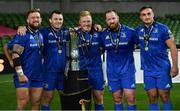 12 September 2020; Leinster players, from left, Andrew Porter, Cian Healy, James Tracy, Michael Bent and Rónan Kelleher, with the Guinness PRO14 trophy following the Guinness PRO14 Final match between Leinster and Ulster at the Aviva Stadium in Dublin. Photo by Ramsey Cardy/Sportsfile