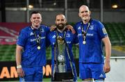 12 September 2020; Leinster players, from left, James Ryan, Scott Fardy and Devin Toner, with the Guinness PRO14 trophy following the Guinness PRO14 Final match between Leinster and Ulster at the Aviva Stadium in Dublin. Photo by Ramsey Cardy/Sportsfile