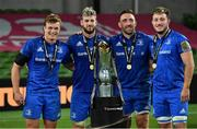 12 September 2020; Leinster players, from left, Josh van der Flier, Caelan Doris, Jack Conan and Will Connors, with the Guinness PRO14 trophy following the Guinness PRO14 Final match between Leinster and Ulster at the Aviva Stadium in Dublin. Photo by Ramsey Cardy/Sportsfile