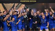 12 September 2020; Rob Kearney and Fergus McFadden of Leinster lift the PRO14 trophy with their team-mates after the Guinness PRO14 Final match between Leinster and Ulster at the Aviva Stadium in Dublin. Photo by Brendan Moran/Sportsfile