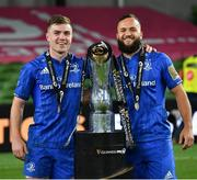 12 September 2020; Leinster players Luke McGrath, left, and Jamison Gibson-Park, with the Guinness PRO14 trophy following the Guinness PRO14 Final match between Leinster and Ulster at the Aviva Stadium in Dublin. Photo by Ramsey Cardy/Sportsfile