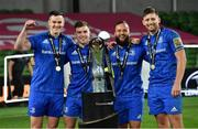 12 September 2020; Leinster players, from left, Jonathan Sexton, Luke McGrath, Jamison Gibson-Park and Ross Byrne, with the Guinness PRO14 trophy following the Guinness PRO14 Final match between Leinster and Ulster at the Aviva Stadium in Dublin. Photo by Ramsey Cardy/Sportsfile