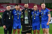 12 September 2020; Leinster players, from left, Fergus McFadden, Hugo Keenan, Rob Kearney, Jordan Larmour and Rory O'Loughlin, with the Guinness PRO14 trophy following the Guinness PRO14 Final match between Leinster and Ulster at the Aviva Stadium in Dublin. Photo by Ramsey Cardy/Sportsfile