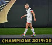 12 September 2020; Ian Madigan of Ulster walks away with his runner's up medal after the Guinness PRO14 Final match between Leinster and Ulster at the Aviva Stadium in Dublin. Photo by Brendan Moran/Sportsfile