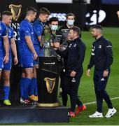 12 September 2020; Fergus McFadden and Rob Kearney of Leinster are presented with their medals by team-mates Jonathan Sexton and Garry Ringrose after the Guinness PRO14 Final match between Leinster and Ulster at the Aviva Stadium in Dublin. Photo by Brendan Moran/Sportsfile