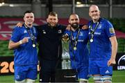 12 September 2020; Leinster players, from left, James Ryan, Ross Molony, Scott Fardy and Devin Toner, with the Guinness PRO14 trophy following the Guinness PRO14 Final match between Leinster and Ulster at the Aviva Stadium in Dublin. Photo by Ramsey Cardy/Sportsfile