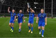12 September 2020; Leinster players, from left, Rory O'Loughlin, Andrew Porter, Garry Ringrose and James Tracy with the Guinness PRO14 trophy following the Guinness PRO14 Final match between Leinster and Ulster at the Aviva Stadium in Dublin. Photo by Ramsey Cardy/Sportsfile