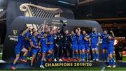 12 September 2020; Rob Kearney, left, and Fergus McFadden of Leinster lift the trophy following their victory in the the Guinness PRO14 Final match between Leinster and Ulster at the Aviva Stadium in Dublin. Photo by Ramsey Cardy/Sportsfile