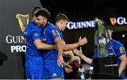 12 September 2020; Jonathan Sexton, left, and Hugo Keenan of Leinster following their victory in the Guinness PRO14 Final match between Leinster and Ulster at the Aviva Stadium in Dublin. Photo by Ramsey Cardy/Sportsfile
