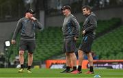12 September 2020; Ulster forwards coach Roddy Grant, left, skills coach Dan Soper and backs coach Jared Payne prior the Guinness PRO14 Final match between Leinster and Ulster at the Aviva Stadium in Dublin. Photo by Brendan Moran/Sportsfile