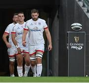 12 September 2020; Ulster captain Iain Henderson leads his team out ahead of the Guinness PRO14 Final match between Leinster and Ulster at the Aviva Stadium in Dublin. Photo by Ramsey Cardy/Sportsfile