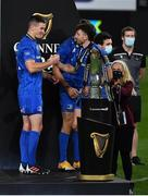 12 September 2020; Jonathan Sexton of Leinster presents team-mate James Lowe with his winners medal after the Guinness PRO14 Final match between Leinster and Ulster at the Aviva Stadium in Dublin. Photo by Brendan Moran/Sportsfile