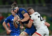 12 September 2020; Caelan Doris of Leinster is tackled by Ian Madigan of Ulster during the Guinness PRO14 Final match between Leinster and Ulster at the Aviva Stadium in Dublin. Photo by Ramsey Cardy/Sportsfile