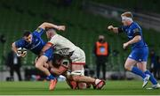 12 September 2020; Robbie Henshaw of Leinster is tackled by Jack McGrath, left, and Alan O'Connor of Ulster during the Guinness PRO14 Final match between Leinster and Ulster at the Aviva Stadium in Dublin. Photo by Ramsey Cardy/Sportsfile