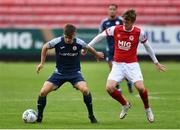 12 September 2020; Niall Morahan of Sligo Rovers and Chris Forrester of St Patrick's Athletic during the SSE Airtricity League Premier Division match between St. Patrick's Athletic and Sligo Rovers at Richmond Park in Dublin. Photo by Ben McShane/Sportsfile