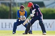 13 September 2020; Jack Tector of YMCA plays a shot watched by Benjamin Marris of Cork County during the All-Ireland T20 Semi-Final match between YMCA and Cork County at Pembroke Cricket Club in Dublin. Photo by Sam Barnes/Sportsfile