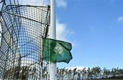 13 September 2020; An umpire's green flag hangs in a goal net prior to the Antrim County Senior Hurling Championship Final match between Dunloy Cuchullains and Loughgiel Shamrocks at Páirc Mhic Uilín in Ballycastle, Antrim. Photo by Brendan Moran/Sportsfile