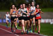 13 September 2020; Competitors, lead by Aoife Ó Cuill of St Coca's AC, Kildare, 400, competing in the Junior Women's 3000m during day two of the Irish Life Health National Junior Track and Field Championships at Morton Stadium in Santry, Dublin. Photo by Ben McShane/Sportsfile