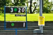 13 September 2020; COVID-19 signage is seen during day two of the Irish Life Health Combined Event Championships at Morton Stadium in Santry, Dublin. Photo by Ben McShane/Sportsfile