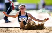 13 September 2020; Aisling Machugh of Naas AC, Kildare, competing in the Junior Women's Triple Jump during day two of the Irish Life Health National Junior Track and Field Championships at Morton Stadium in Santry, Dublin. Photo by Ben McShane/Sportsfile