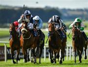 13 September 2020; Jockey Tom Evans celebrates as he passes the post after riding Glass Slippers to victory in the Derrinstown Stud Flying Five Stakes during day two of The Longines Irish Champions Weekend at The Curragh Racecourse in Kildare. Photo by Seb Daly/Sportsfile