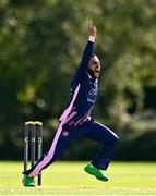 13 September 2020; Simi Singh of YMCA celebrates the wicket of Harvey Wootton of Cork County during the All-Ireland T20 Semi-Final match between YMCA and Cork County at Pembroke Cricket Club in Dublin. Photo by Sam Barnes/Sportsfile