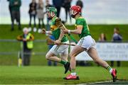 13 September 2020; Kevin Molloy, left, and Eoin O'Neill of Dunloy celebrate their side's first goal during the Antrim County Senior Hurling Championship Final match between Dunloy Cuchullains and Loughgiel Shamrocks at Páirc Mhic Uilín in Ballycastle, Antrim. Photo by Brendan Moran/Sportsfile