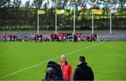 13 September 2020; Loughgiel Shamrocks manager Hugh McCann is interviewed by TG4 prior to the Antrim County Senior Hurling Championship Final match between Dunloy Cuchullains and Loughgiel Shamrocks at Páirc Mhic Uilín in Ballycastle, Antrim. Photo by Brendan Moran/Sportsfile