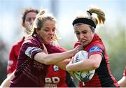 13 September 2020; Meabh O'Dwyer of New Ross is tackled by Aoife Nolan of Tullow during the Bryan Murphy Southeast Women's Cup match between Tullow and New Ross at Gorey RFC in Gorey, Wexford. Photo by Ramsey Cardy/Sportsfile