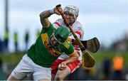 13 September 2020; Kevin Molloy of Dunloy is tackled by Chris O'Connell of Loughgiel during the Antrim County Senior Hurling Championship Final match between Dunloy Cuchullains and Loughgiel Shamrocks at Páirc Mhic Uilín in Ballycastle, Antrim. Photo by Brendan Moran/Sportsfile