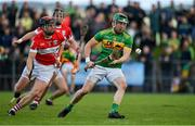 13 September 2020; Kevin Molloy of Dunloy in action against Neil McGarry of Loughgiel during the Antrim County Senior Hurling Championship Final match between Dunloy Cuchullains and Loughgiel Shamrocks at Páirc Mhic Uilín in Ballycastle, Antrim. Photo by Brendan Moran/Sportsfile