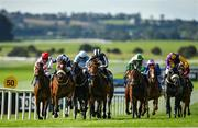 13 September 2020; Glass Slippers, second left, with Tom Evans up, races alongside eventual second place Keep Busy, fourth left, with Ryan Moore up, on their way to winning the Derrinstown Stud Flying Five Stakes during day two of The Longines Irish Champions Weekend at The Curragh Racecourse in Kildare. Photo by Seb Daly/Sportsfile