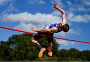 13 September 2020; (EDITORS NOTE; This image was created with a Circular Polarizing Filter) Adam Nolan of St L O'Toole AC, Carlow, competing in the Junior Men's High Jump event during day two of the Irish Life Health National Junior Track and Field Championships at Morton Stadium in Santry, Dublin. Photo by Ben McShane/Sportsfile