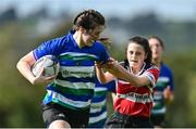 13 September 2020;  Tess O'Brien of Gorey is tackled by Aoife Dunne of Wicklow during the Bryan Murphy Southeast Women's Cup match between Gorey and Wicklow at Gorey RFC in Gorey, Wexford. Photo by Ramsey Cardy/Sportsfile