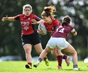 13 September 2020; Sarah Browne of New Ross is tackled by Jane O'Neill of Tullow during the Bryan Murphy Southeast Women's Cup match between Tullow and New Ross at Gorey RFC in Gorey, Wexford. Photo by Ramsey Cardy/Sportsfile