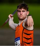 13 September 2020; Joseph Mc Evoy of Nenagh Olympic AC, Tipperary, competing in the Junior Men's Javelin during day two of the Irish Life Health National Junior Track and Field Championships at Morton Stadium in Santry, Dublin. Photo by Ben McShane/Sportsfile