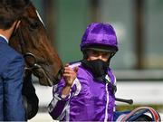 13 September 2020; Jockey Ryan Moore and Shale in the winners enclosure following victory in the Moyglare Stud Stakes during day two of The Longines Irish Champions Weekend at The Curragh Racecourse in Kildare. Photo by Seb Daly/Sportsfile