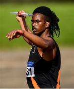 13 September 2020; Rolus Olusa of Clonliffe Harriers AC, Dublin, competing in the Men's Javelin event of the Senior Men's Decathlon during day two of the Irish Life Health Combined Event Championships at Morton Stadium in Santry, Dublin. Photo by Ben McShane/Sportsfile