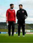 13 September 2020; Darren Cole, left, and Derry City assistant manager Kevin Deery prior to the SSE Airtricity League Premier Division match between Finn Harps and Derry City at Finn Park in Ballybofey, Donegal. Photo by Stephen McCarthy/Sportsfile