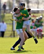 13 September 2020; Chrissy McMahon, right, and Aaron Crawford of Dunloy celebrate at the final whistle of the Antrim County Senior Hurling Championship Final match between Dunloy Cuchullains and Loughgiel Shamrocks at Páirc Mhic Uilín in Ballycastle, Antrim. Photo by Brendan Moran/Sportsfile