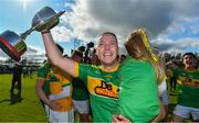 13 September 2020; Dunloy captain Paul Shields, carrying his daughter Ada, celebrates with the cup after the Antrim County Senior Hurling Championship Final match between Dunloy Cuchullains and Loughgiel Shamrocks at Páirc Mhic Uilín in Ballycastle, Antrim. Photo by Brendan Moran/Sportsfile