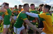 13 September 2020; Kevin McKeague, centre, and Ryan Elliott, right, of Dunloy celebrate after the Antrim County Senior Hurling Championship Final match between Dunloy Cuchullains and Loughgiel Shamrocks at Páirc Mhic Uilín in Ballycastle, Antrim. Photo by Brendan Moran/Sportsfile
