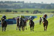 13 September 2020; Search For A Song, right, with Oisin Orr up, races alongside eventual second place Fujaira Prince, centre, with Andrea Atzeni up, on their way to winning the Comer Group International Irish St Leger during day two of The Longines Irish Champions Weekend at The Curragh Racecourse in Kildare. Photo by Seb Daly/Sportsfile