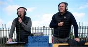 13 September 2020; BBC Radio Foyle commentators Eric White and Liam Coyle, right, broadcast from pitchside during the SSE Airtricity League Premier Division match between Finn Harps and Derry City at Finn Park in Ballybofey, Donegal. Photo by Stephen McCarthy/Sportsfile