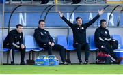 13 September 2020; Derry City manager Declan Devine appeals during the SSE Airtricity League Premier Division match between Finn Harps and Derry City at Finn Park in Ballybofey, Donegal. Photo by Stephen McCarthy/Sportsfile