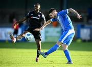 13 September 2020; Stephen Folan of Finn Harps in action against James Akintunde of Derry City during the SSE Airtricity League Premier Division match between Finn Harps and Derry City at Finn Park in Ballybofey, Donegal. Photo by Stephen McCarthy/Sportsfile