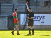 13 September 2020; Davey Byrne of Ballymun Kickhams is shown the red card by referee James King late in the second half during the Dublin County Senior Football Championship Semi-Final match between Ballymun Kickhams and Kilmacud Crokes at Parnell Park in Dublin. Photo by Piaras Ó Mídheach/Sportsfile