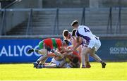 13 September 2020; Players from both sides tussle off the ball late in the second half during the Dublin County Senior Football Championship Semi-Final match between Ballymun Kickhams and Kilmacud Crokes at Parnell Park in Dublin. Photo by Piaras Ó Mídheach/Sportsfile